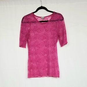 BKE Pink Floral Sheer T-Shirt S